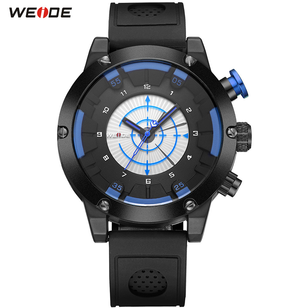Fashion Top Sale WEIDE Men LED Black Blue Analog Watch Outdoor Sports Watch Mens Quartz Silicone Band Waterproof Army Wristwatch xinkai 0015 children s casual silicone band quartz analog wristwatch black red 1 x 377