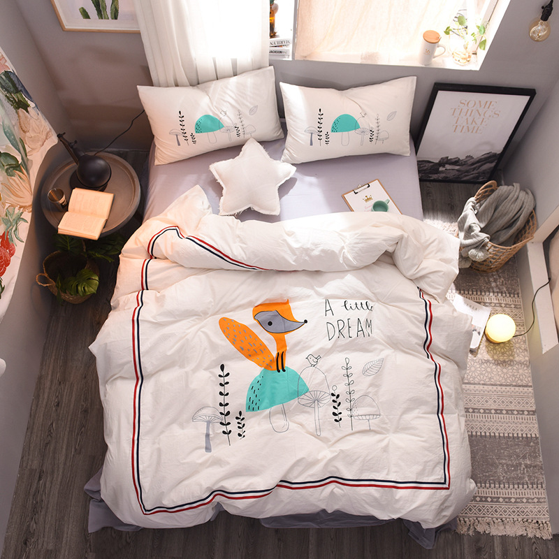 new washed cotton Squirrel bird Potted printing 4pcs set cartoon  bedding set duvet cover pillowcase bedlinen queen king sizenew washed cotton Squirrel bird Potted printing 4pcs set cartoon  bedding set duvet cover pillowcase bedlinen queen king size