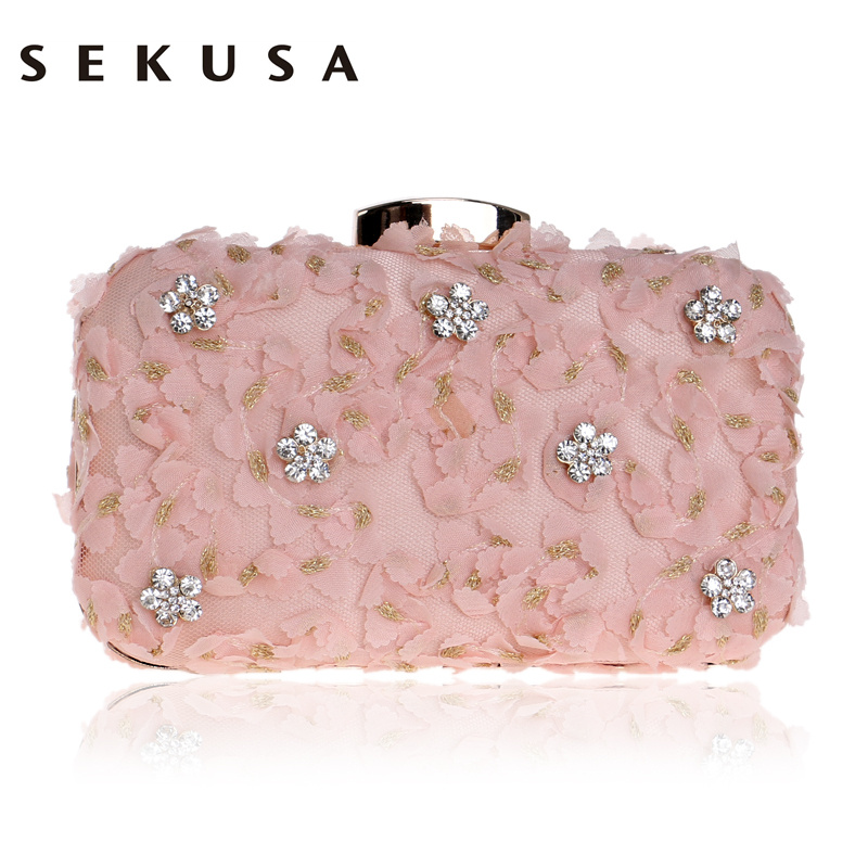 SEKUSA Lace Diamonds Women Evening Bag Wedding Party Chain Shoulder Purse Day Clutch Pink Black Pink Mini Evening Bag mini fashion women round ball day clutch evening bag shoulder messenger bag wallet wedding party chain purse banquet bolsa li820