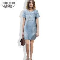 New 2014 Summer Casual Women Dress Fashion Denim Jeans Dresses Vestidos Cotton Dresses Plus Size M
