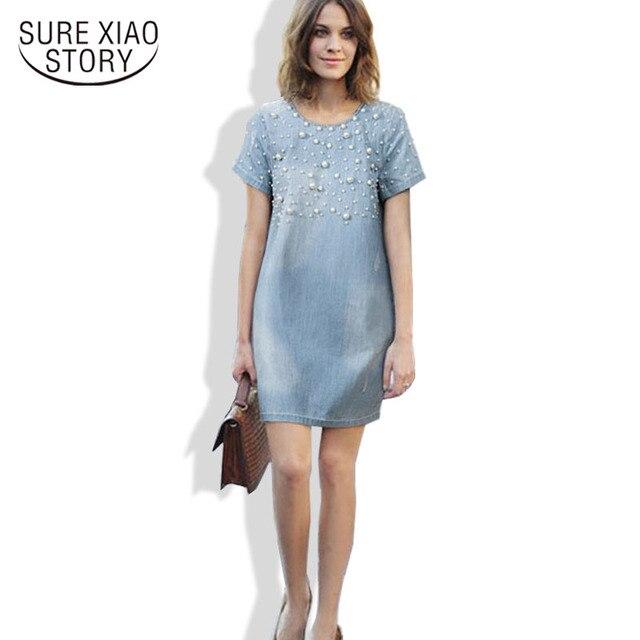 Лидер продаж 2017 женские летние платья мода джинсы платье плюс размер M-5XL женщины синий джинсовый платье c19-c