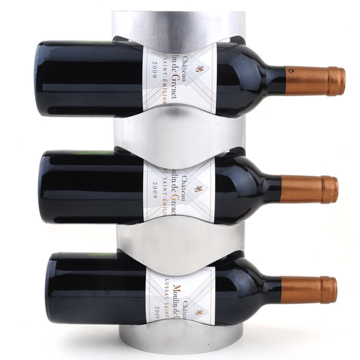 Stainless Steel 3 Bottle Wall Mounted Wine Rack Wall Wine Holder In