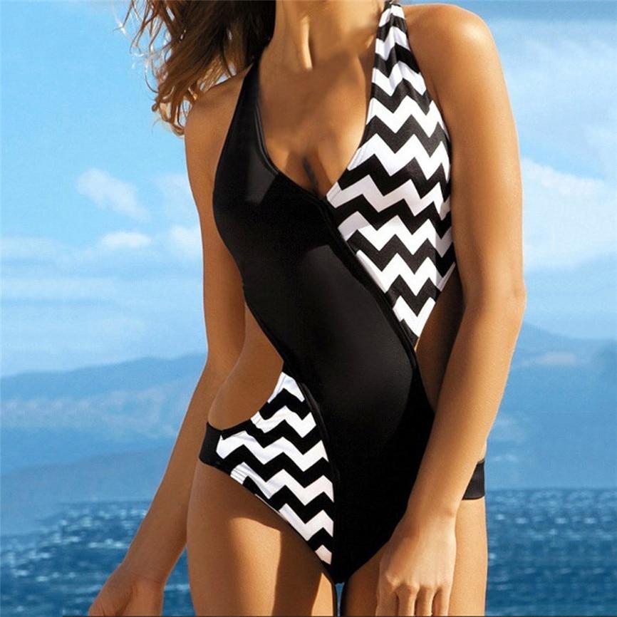2020 Women Swimwear Sexy New Fashion Women's Summer Sexy Corrugated Patchwork V Neck One Piece Swimwear Beachwear 4#9