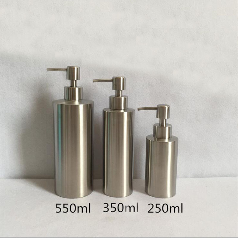 Stainless Steel 250ml 350ml 550ml Liquid soap dispenser Kitchen Bathroom Lotion Pump Bottle Multifunction Sink Detergent Supply