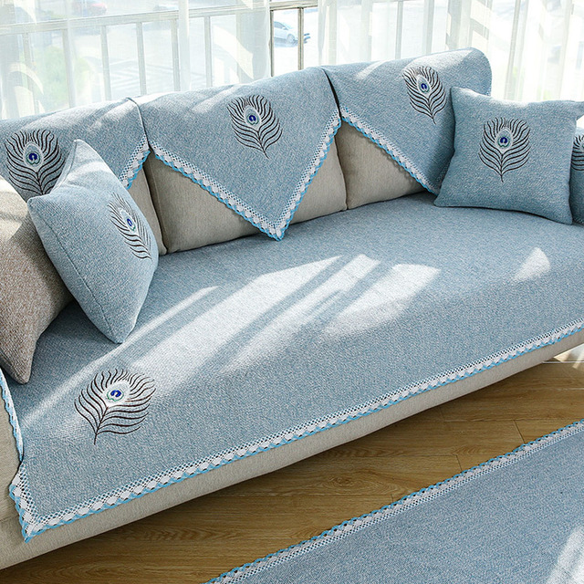 Covering A Sofa With Fabric: Polyester&Cotton Fabric Sofa Cover Modern Embroidered