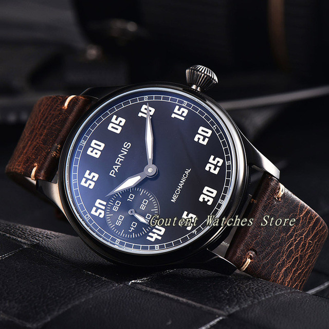 44mm Parnis 17 Jewels Rose Gold Black Silver Case Leather Multiple Style Hand Wind Mechanical Men