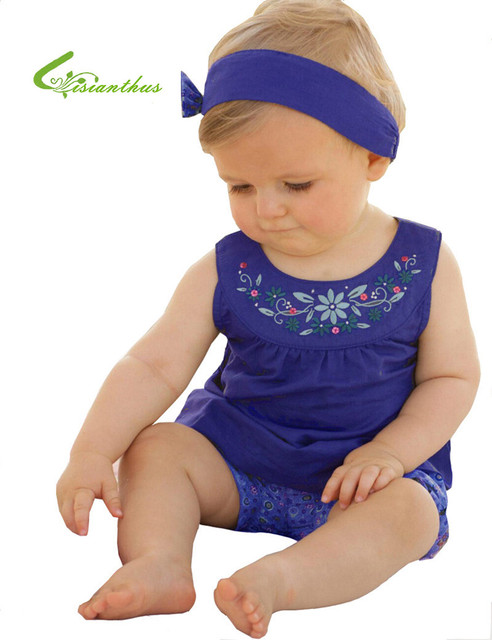 2016 New Baby Girl Summer Clothing Set Infant Floral Pattern Hairband T-shirt Shorts 3pcs Toddler Royal Blue Flower Clothes Suit