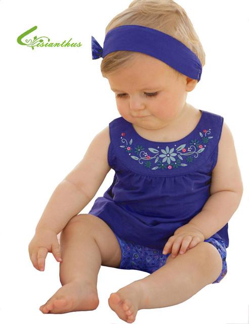 2016 Nueva Ropa Del Bebé Del Verano Infantiles Patrón Floral Hairband T-camisa Cortocircuitos 3 unids Ropa Niño Royal Blue Flower traje