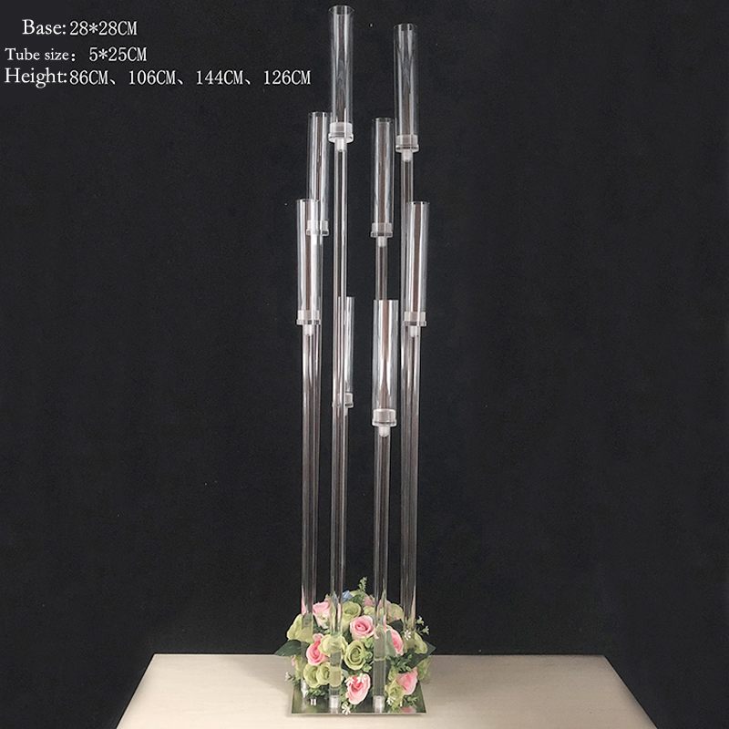 8 Heads Candlestick Metal Candle Holders Transparent Road Lead Candelabra Table Centerpiece Gold Candelabrum Stand Pillar G049018 Heads Candlestick Metal Candle Holders Transparent Road Lead Candelabra Table Centerpiece Gold Candelabrum Stand Pillar G04901