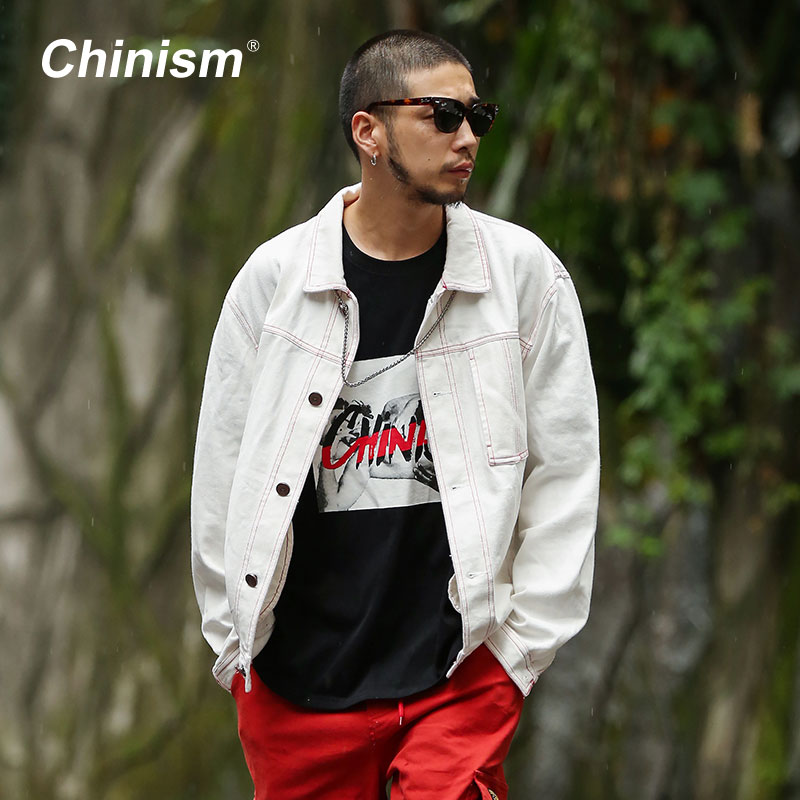 CHINISM 2017 New Top Stitching Retro Streets Trend Mens Jacket White Loose Jean Jacket Printed Coaches Coat Men