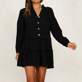 цена Women's Plus Size Cotton Material V-Neck Tunic Dress онлайн в 2017 году
