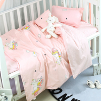 Baby Bedding Set Cotton Cartoon Breathable Baby Bed Linen Infant Newborn Crib Duvet Cover Bed Flat Sheet Pillowcase Baby Bed Set
