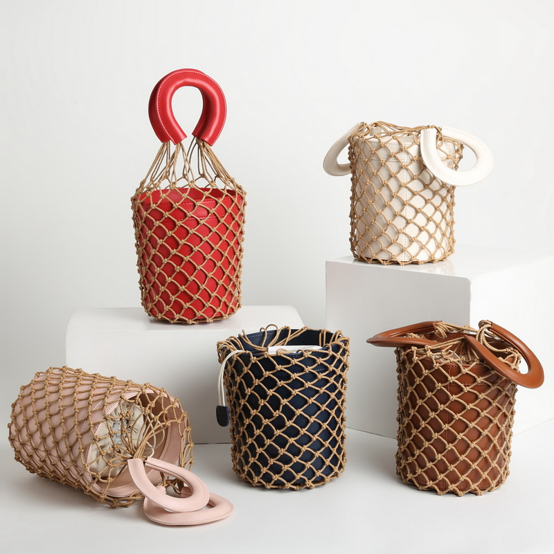 Moreau Fishing net package 2018 Ins Bucket Basket Bag Genuine Leather mix and match Vintage Retro Lady Handbags Canvas Bag inter small beginnings mix and match
