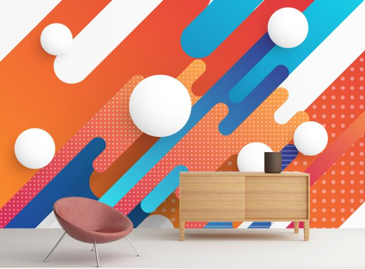 Custom Wall Mural Wallpaper 3D Color Geometric Three-Dimensional Ball Murals Wallpaper Bedroom Living Room TV Backdrop 3D Murals red square building curtain roman 3d large mural wallpaper bedroom living room tv backdrop painting three dimensional wallpaper
