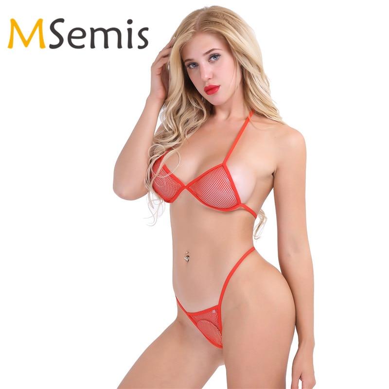 Women's Bikini Swimsuit Bra Top With Matching G-string Swimwear Sexy Lingerie Fishnet See-through Bikini Thongs Swimming Suit