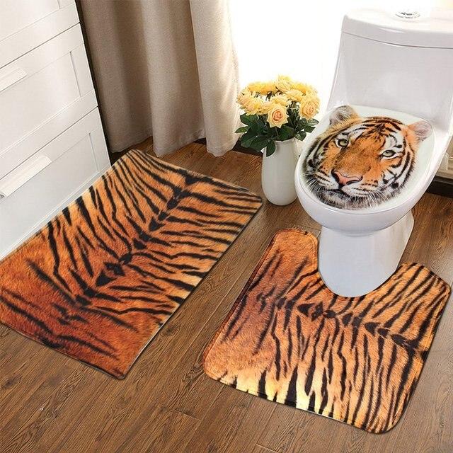 NEU!!! 3 Teile/satz Bad Rutschfeste Tiger Textur Sockel Teppich + ...