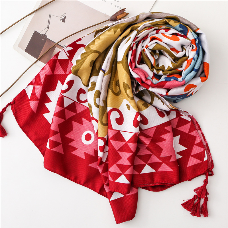 2019 New Geometry Print Tassel Scarves Shawls Women Fashion Beach Geometric Cotton Scarf Hijab Wholesale 10pcs/lot Free Shipping