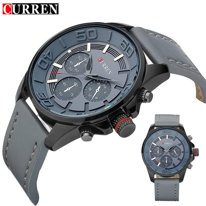 CURREN 8187 Business Men New Fashionable Design Clock Casual Leather Luxury Wrist Quartz Army Sports Waterproof Watch цена и фото