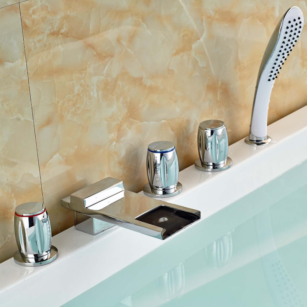 Bathroom Deck Mounted Waterfall 5PCS Bath Tub Filler Sink Shower Faucet with ABS Handshower