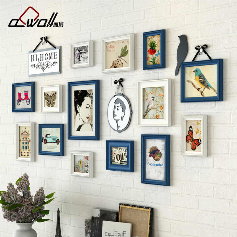 buy 14 pieces set photo frames european style picture frames for wall wood. Black Bedroom Furniture Sets. Home Design Ideas