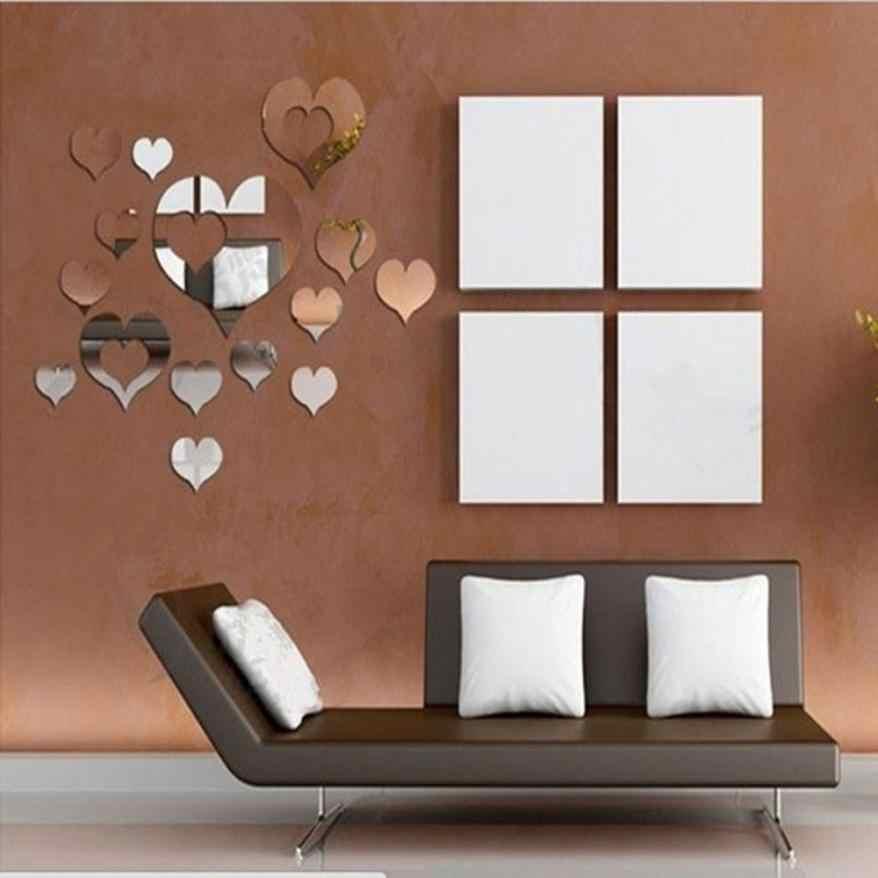 Espejo 3d Amor Corazones Pared Pegatina Pegatinas Diy Pared Pegatinas Para Sala De Estar Estilo Moderno Hogar Habitación Arte Mural Decoración