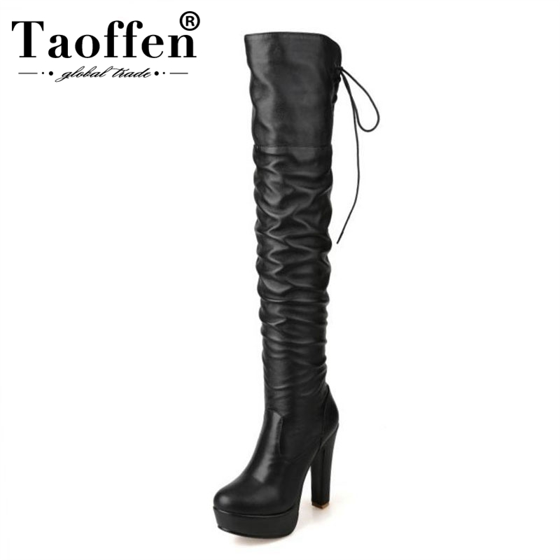 TAOFFEN Plus Size 34 48 High Heels Women Boots Platform Fur Winter Warm Over Knee Boots Lace Up Long Boots Sexy Shoes Ladies