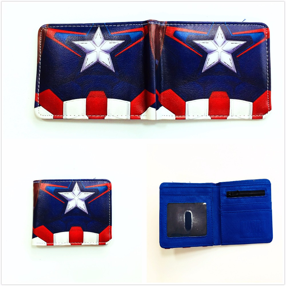 New Marvel Super Hero Captain America Wallets Bi-fold Short PU Leather Wallets Card holder Purse W1088Q цена