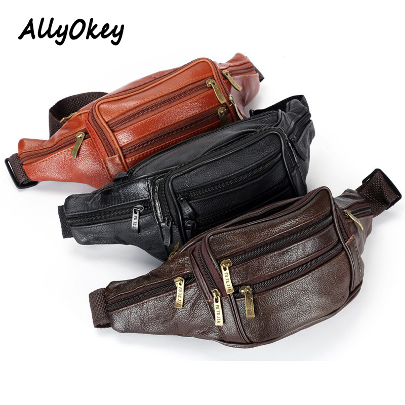 Brand Fanny Pack Men Genuine Leather Waist Packs Fashion Men Organizer Travel Pack Necessity Banana Belt Mobile Phone Bag N-76