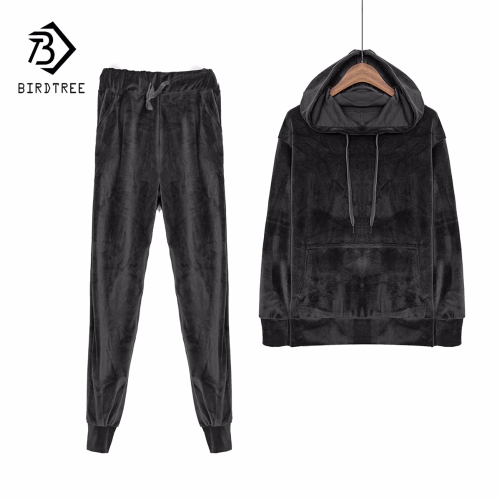 Velvet Tracksuit Two Piece Set Women Sexy Hooded Grey Long Sleeve Top And Pants Bodysuit Suit Runway Fashion 2018 Black D79101(China)