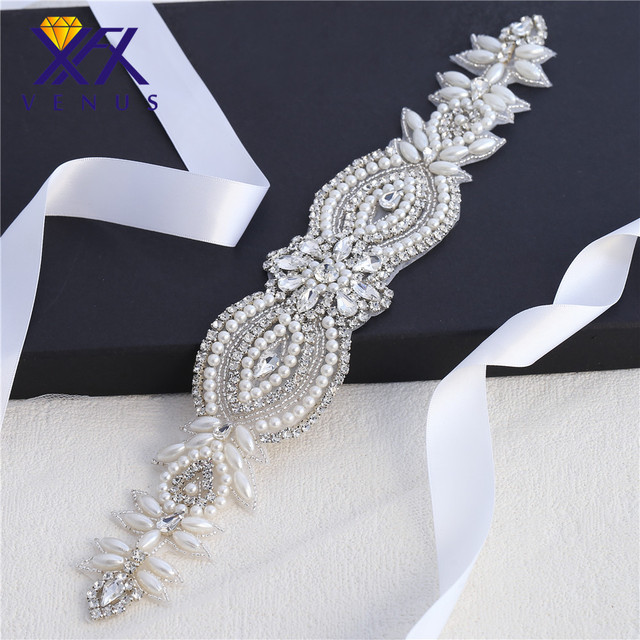 XINFANGXIU 1 pc Pearls Rhinestone Applique Wedding Dress Belt Applique  Crystal Beaded Applique Patches for Wedding Dress d0f642d36dc4