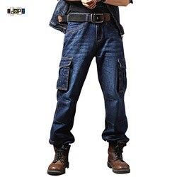 Idopy мужская повседневная мотоциклетная рабочая одежда с несколькими карманами джинсовые байкерские карго джинсы брюки для мужчин плюс раз...