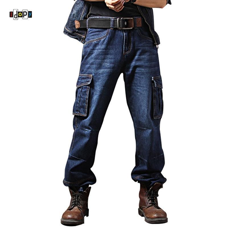 Idopy männer Casual Motorrad Arbeitskleidung Multi Taschen Denim Biker Cargo Jeans Hosen Für Männer Plus Größe