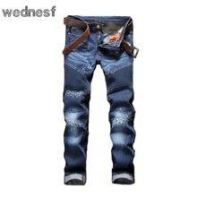#1952 2017 Мотоциклов джинсы homme Проблемные Мода Темно-синий мужские джинсы марка Мужские байкерские джинсы Лоскутное Узкие джинсы Jogger