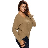 Autumn Winter Women Fashion Pure Color V Neck Long Sleeve Knitting Sweater Sexy Chunky Cross Wrap Tunic Pullover Sweater