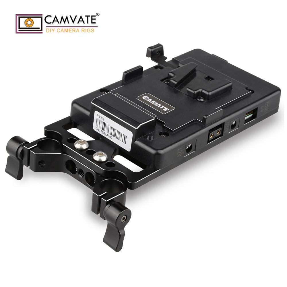 CAMVATE V Blocco Piastra di Montaggio di Alimentazione Splitter con 15mm Morsetto di Rod C1524 macchina fotografica accessori per la fotografia
