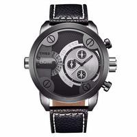 Hot Famous Brand Oulm Watches Mens Leather Band 2 Japan Movt Quartz Time Zone Clock Unique