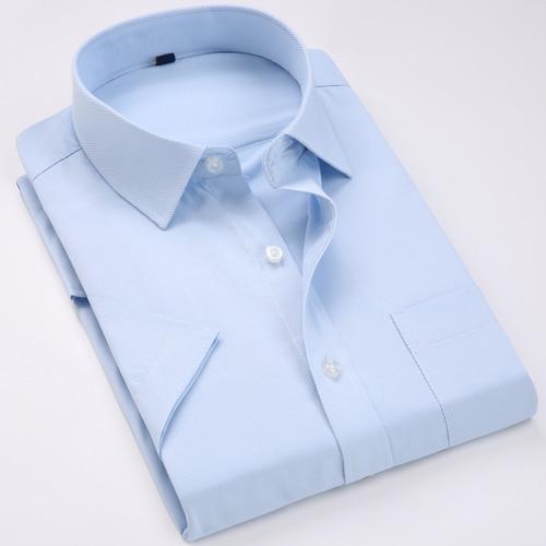 Men's Regular-fit Summer Short Sleeve Solid Classic Shirt Single Patch Pocket Formal Business Work Office Basic Dress Shirts 9