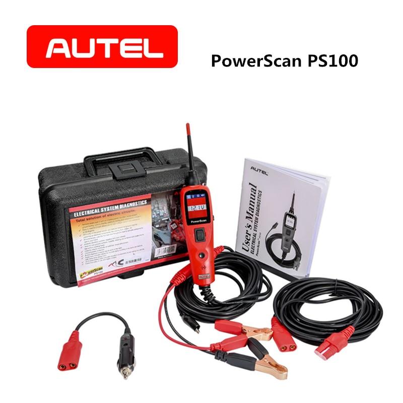 Carro Ferramenta De Diagnóstico Do Sistema Elétrico AUTEL PowerScan PS100 OBD2 Automotivo Scanner Leitor de Código de Sistema de Circuito Elétrico Tester