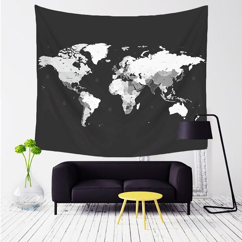 Comwarm Welt Karte Muster Wandteppich Wandbehang Gobelin Sandy Strand Picknick Yoga Matte für Komfortable Wohnkultur Artting T004