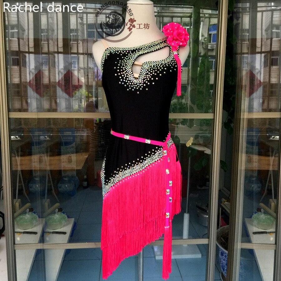 2017 Fringe Latin Dance Dress Girl Pearl Shoulder More Drilling Samba Ballroom Tango Dance Clothing Tassel Latin Dance Dress