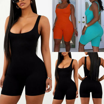 Women Summer Sexy Solid Sleeveless Clubwear Playsuit Ladies Skinny Bodycon Party Backless Jumpsuit Bodysuits new women ladies clubwear v neck playsuit bodycon party zpper sleeveless jumpsuit