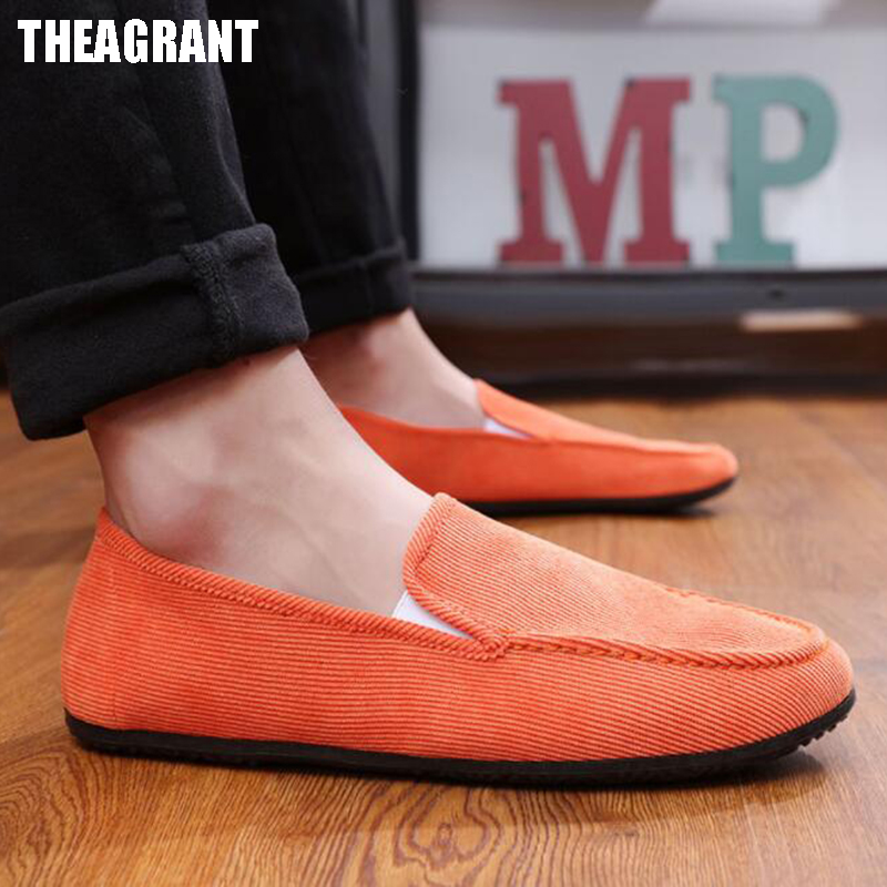 THEAGRANT 2019 Fashion Casual Men Shoes Spring Autumn Flock Flat Shoes Breathable Man  Loafers Male Slip On MFS3016
