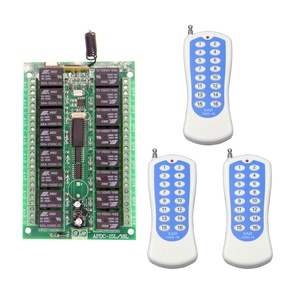 ФОТО DC 12V 24V 16 CH 16CH RF Wireless Remote Control Switch System,3 X Transmitter + Receiver,Toggle Momentary Latched,315/433MHZ