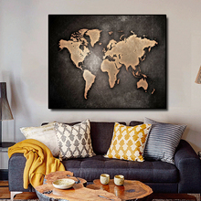Laeacco Retro Style World Map Canvas Painting CalligraphyPoster For Home Bedroom Living Room Decor Artwork Pictures