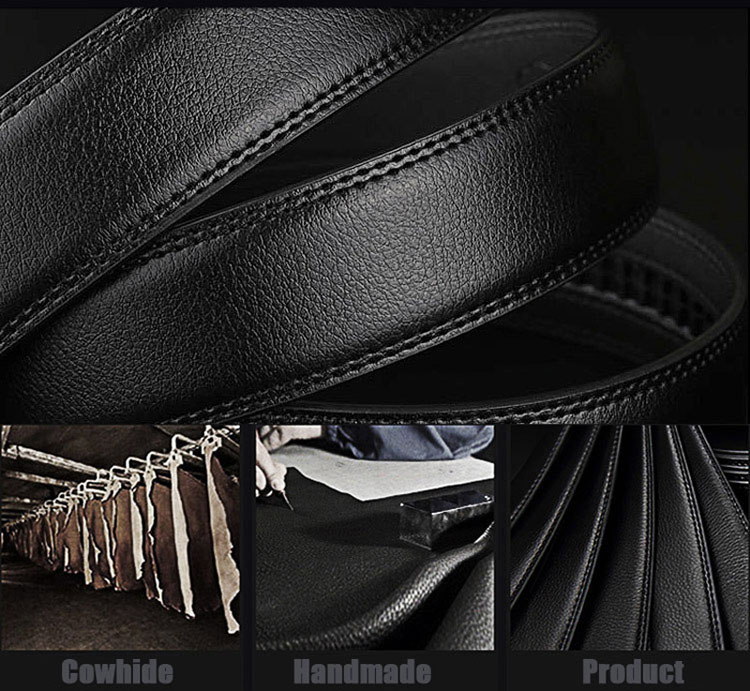 2018 Brand Men Fashion Business Belts Genuine Leather Strap Male Belt Jeans Automatic Buckle Belt Black Normal 12