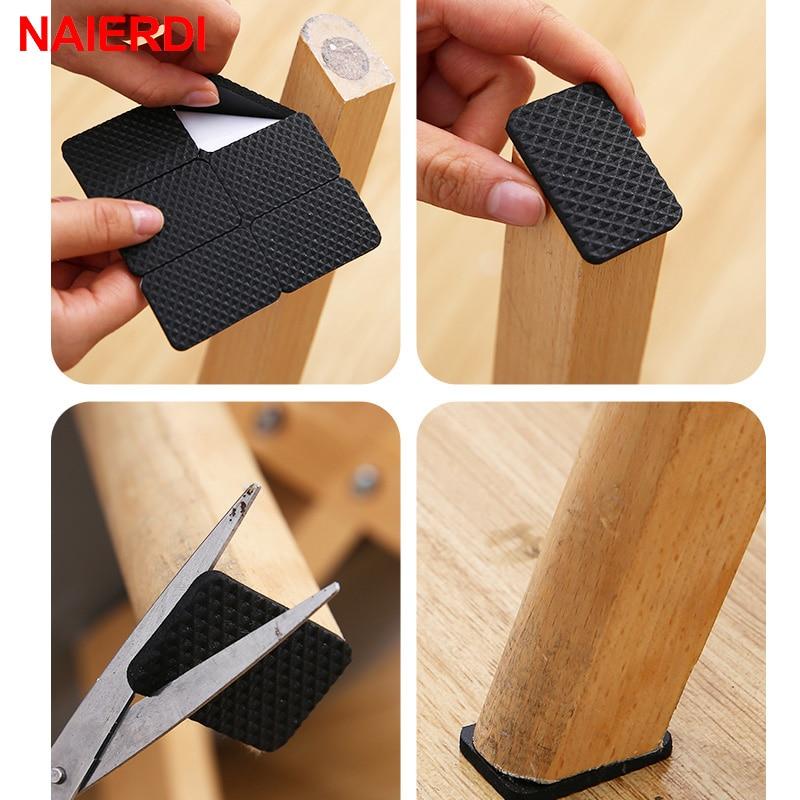 Naierdi 1-24 pces auto-adesivo móveis pé pés tapete feltro almofadas anti deslizamento esteira amortecedor para cadeira protetor de mesa ferragem