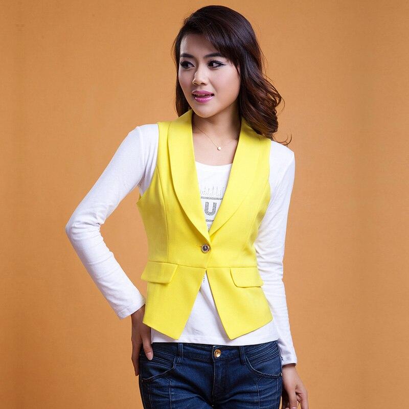 Solid Krátký styl dámské oblek vesta Elegantní Single Button Suspenders Bez rukávů Ozdobte Kancelářské Oblečení Vrchní Žlutá Bílá