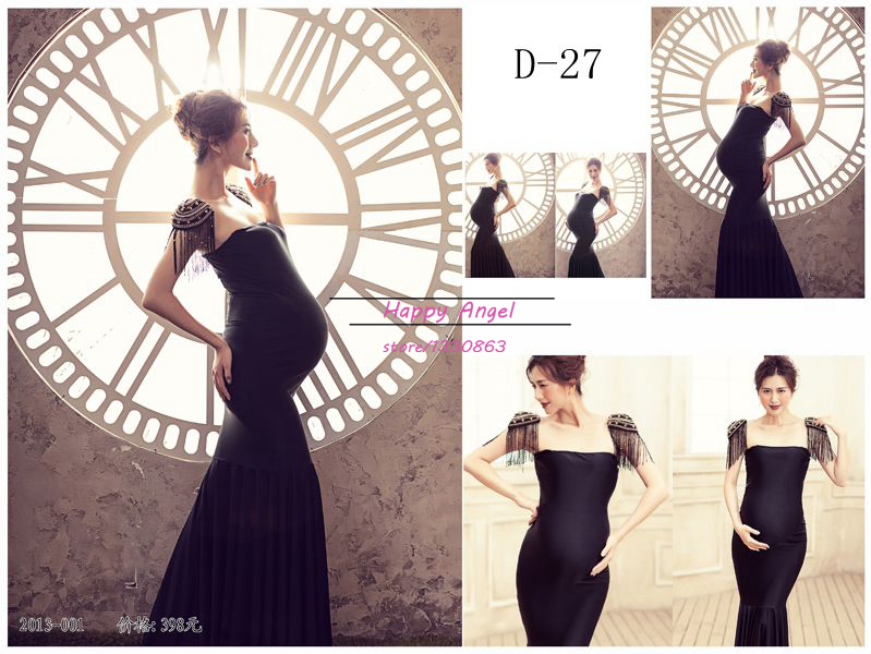 New Photography Props for pregnant Maternity women DressPregnancy Pure Black close-fitting Mermaid Romantic set PrincessNew Photography Props for pregnant Maternity women DressPregnancy Pure Black close-fitting Mermaid Romantic set Princess