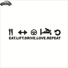 Pegatina Sex Girl Eat Lift Drive Love Repeat Funny Decal Beauty Funny Car Sticker Window Rear Glass Motorcycle Car Decor(China)