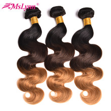 Ombre Hair Bundles Body Wave Bundles T1B/4/27 Brazilian Hair Weave Bundles 3 Tone Blonde Human Bundles Hair Mslynn NonRemy Hair(China)
